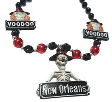 Voodoo New Orleans Skeleton Mardi Gras Necklace Beads Bead