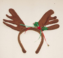 Reindeer Antlers with Christmas Holly Ribbon Headband