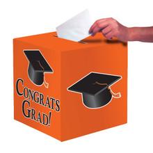 """Orange Black Graduation Card Box 9 x 9 """"Congrats Grad"""" Graduation"""