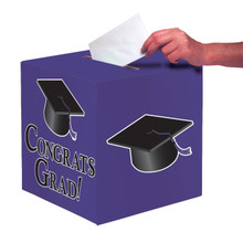 """Purple Black Graduation Card Box 9 x 9 """"Congrats Grad"""" Graduation"""