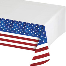 Patriotic Flag Tablecover Plastic 54 x 102 4th July Stars Stripes Veterans