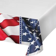 American Symbol Flag Tablecover Plastic 54 x 102 4th July Stars Stripes Veterans