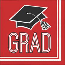 Red Black 36 ct Luncheon Napkins Value Size School Spirit Graduation