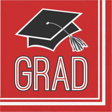 Red Black 36 ct Beverage Napkins Value Size School Spirit Graduation
