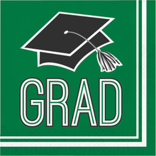 Emerald Green 36 ct Beverage Napkins Value Size Graduation School Spirit