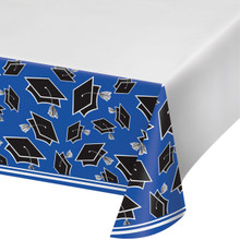 Cobalt Blue Black 54 x 102 Border Print Tablecover Graduation School Spirit