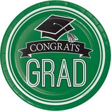 "Emerald Green Black 18 9"" Lunch Plates Value Size Graduation School Spirit"