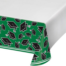 Emerald Green Black 54 x 102 Border Print Tablecover Graduation School Spirit