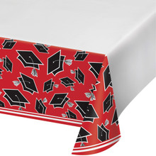 Red Black 54 x 102 Border Print Tablecover Graduation School Spirit