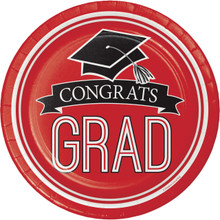 "Classic Red Black 18 7"" Dessert Plates Value Size Graduation School Spirit"