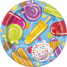 "Popsicle Party 8 Paper 9"" Dinner Lunch Plates Summer Pool Beach"