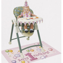 1st Birthday Pink Balloons High Chair Decorating kit Bib Hat Banner Mat