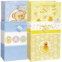 4 Pk Nursery Times Baby Shower Large Glossy Gift Bag Assortment