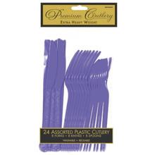 Purple Plastic 24 Cutlery Asst Forks Knives Spoons Heavy Duty Premium