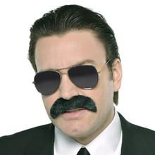 Mustache Black Good Fella Gangster Costume