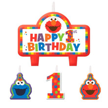 Elmo Turns One Sesame Street 4 Pc Candles Set Cake Topper 1st Birthday Party
