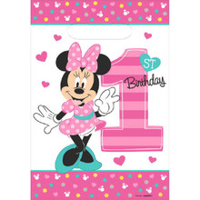 Minnie Mouse Fun to Be One 8 Ct Favor Loot Bags 1st Birthday Party
