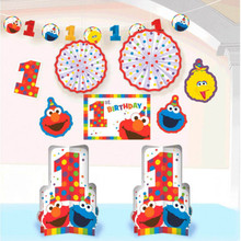 Elmo Turns One Room Decorating Kit 1st Birthday Party Sesame Street 10 Pc