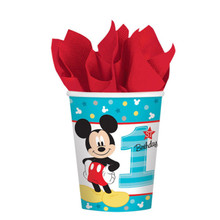 Mickey Mouse Fun to Be One 8 9 Oz Hot Cold Paper Cups 1st Birthday Party