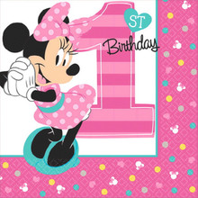 Minnie Mouse Fun to Be One 16 Beverage Napkins 1st Birthday Party