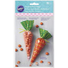 Easter Bunny Carrot Shaped Treat Bags 15 Ct Plastic Party Supplies