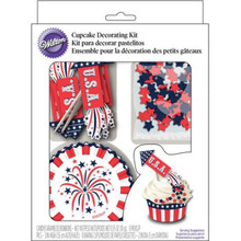 Wilton Rocket USA Combo Cupcake Kit Baking Cups Picks Sprinkles for 24