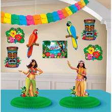 Summer Fun 10 Pc Room Decorating Kit Luau Hula Girl