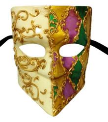 Le Bodin Mardi Gras Purple Green Gold Bauta Venetian Masquerade Mask