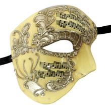 Cream Silver Music Phantom of the Opera Men's Venetian Half Mask Masquerade Mardi Gras