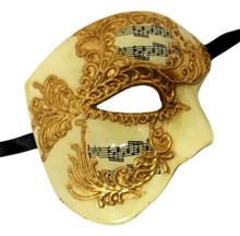 Cream Gold Music Phantom of the Opera Men's Venetian Half Mask Masquerade Mardi Gras
