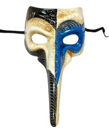 Blue White Long Nose Bird Mardi Gras Masquerade Venetian Mask Zanni