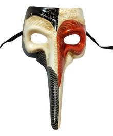 Orange White Long Nose Bird Beak Masquerade Venetian Mask Plague Doctor