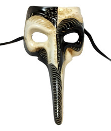 Black White Long Nose Bird Beak Masquerade Venetian Mask Plague Doctor