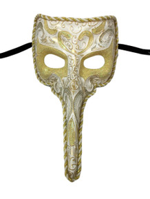 White Long Nose Bird Beak Masquerade Venetian Mask Zanni Plague Doctor