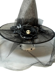 Grey Burlap Halloween Witch Hat w/ Veil Bow Skull Flower