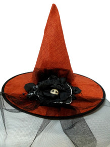 Orange Burlap Halloween Witch Hat w/ Veil Bow Skull Flower