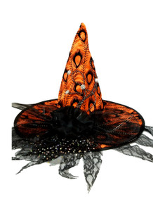 Orange Satin Peacock Halloween Witch Hat Lace and Flower Pins
