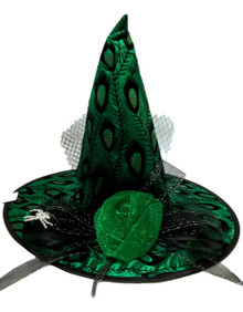 Emerald Green Satin Peacock Halloween Witch Hat Mesh and Spider Pin