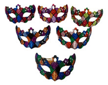 Ornament Mardi Gras Mask Set 6 Assorted (Not Wearable) Party Favors