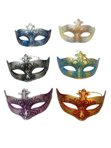 Scroll Ornament Mardi Gras Mask Set 6 Assorted (Not Wearable) Party Favors