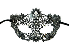 Black Flower Crystals Laser Cut Venetian Mask Masquerade Metal Filigree