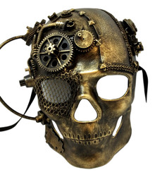Steampunk Gears Skull Brushed Gold Halloween Masquerade Mask