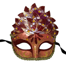 Burgundy Leaf Cascade Mask Masquerade Prom Halloween
