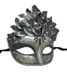 Black Silver Leaf Cascade Mask Masquerade Prom Halloween