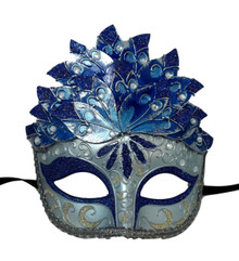 Blue Silver Leaf Cascade Mask Masquerade Prom Halloween