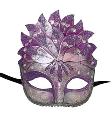 Purple Silver Leaf Cascade Mask Masquerade Prom Halloween