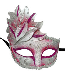 Pink White Venetian Mask Masquerade Mardi Gras Party Leaf Cascade Rhinestones