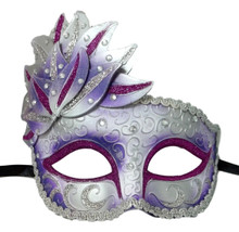 Purple White Venetian Mask Masquerade Mardi Gras Party Leaf Cascade Rhinestones