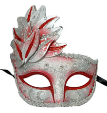 Red White Venetian Mask Masquerade Mardi Gras Party Leaf Cascade Rhinestones