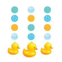 Bubble Bath Duck Baby Shower 3 Hanging Cutouts 36 in Rubber Ducky